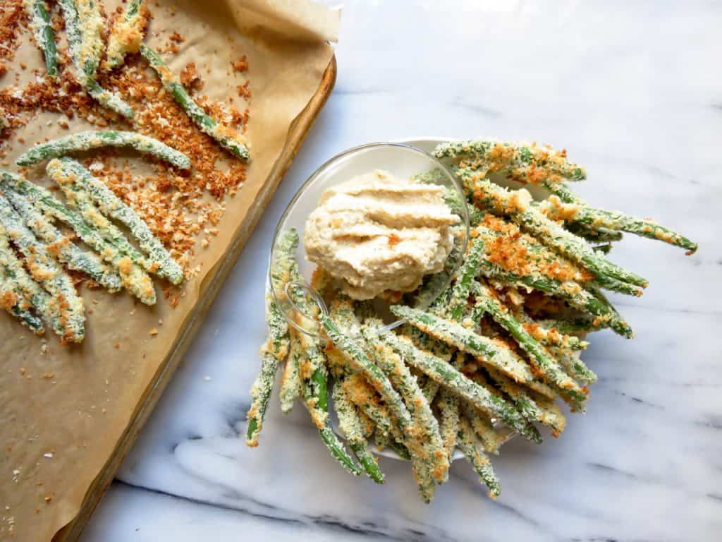 Coconut Crusted Green Beans + Cashew Dip