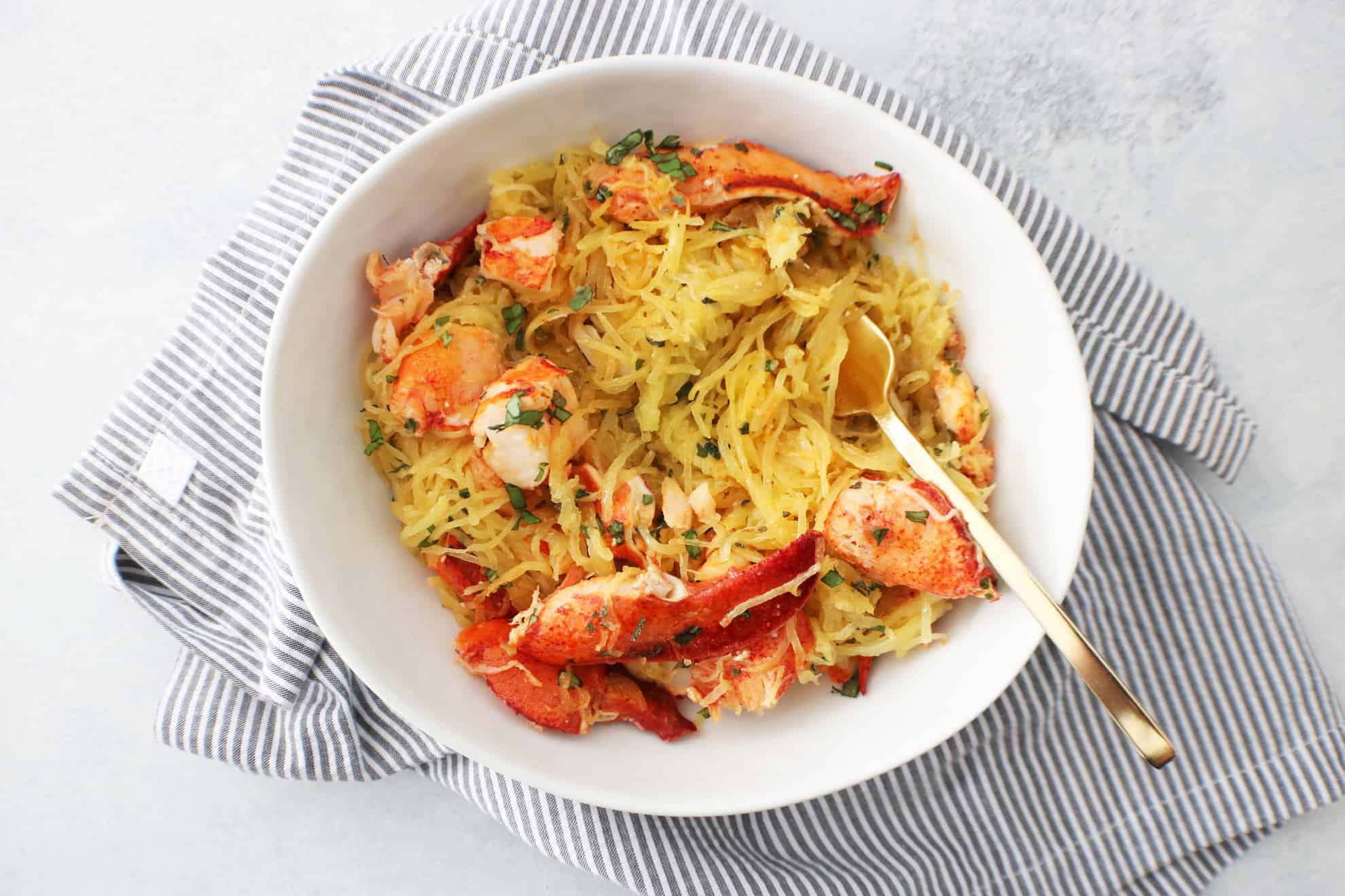 Spaghetti Squash with Garlic Herbed Butter + Lobster