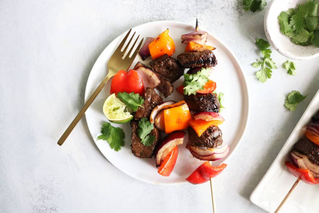 Grilled Pepper + Steak Kabobs