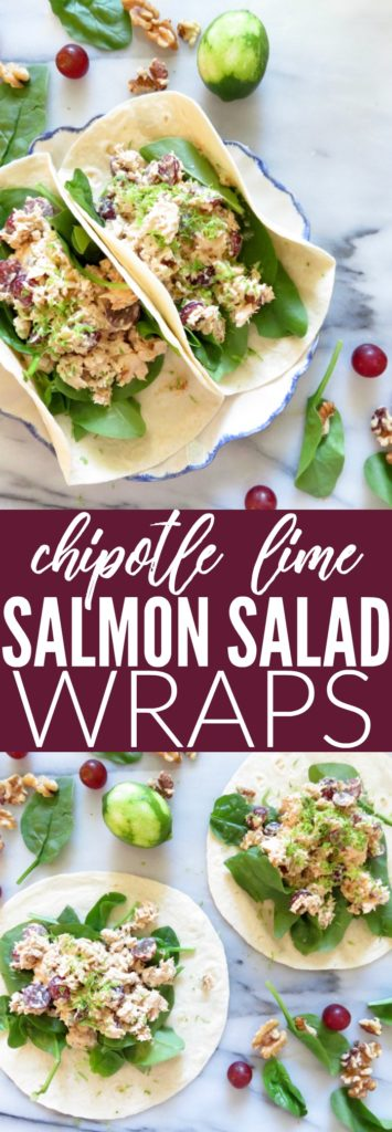 Perfect to up your lunchbox game! This recipe for Chipotle Lime Salmon Salad is so flavorful and easy, made with avocado mayo! Such an easy low carb, gluten free + paleo lunch! thetoastedpinenut.com
