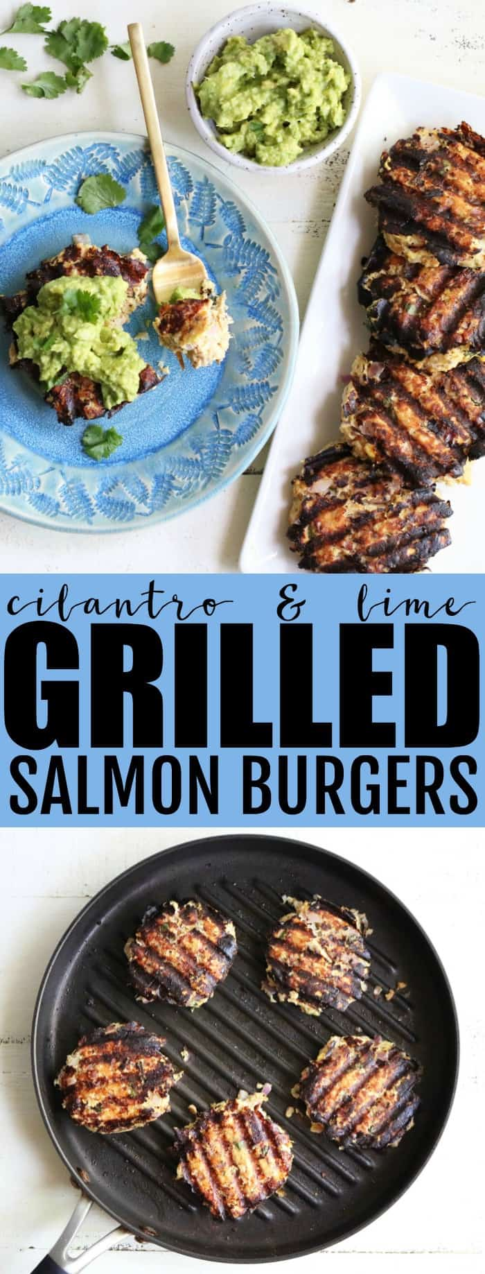 Cilantro + Lime Grilled Salmon Burgers