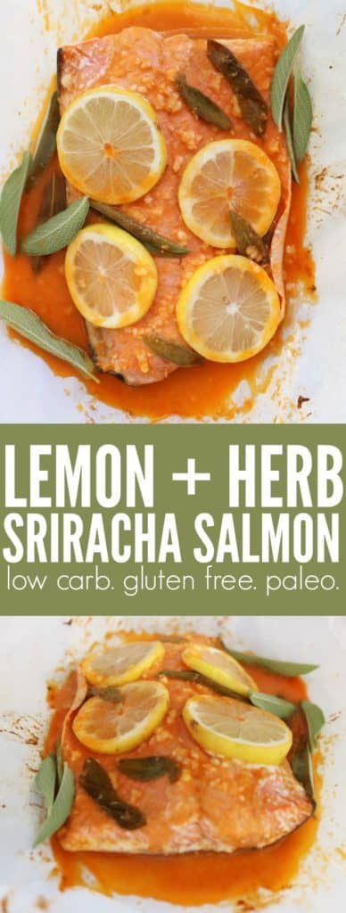 Weeknight dinners don't get easier than this! You'll love this flavor packed Lemon + Herb Sriracha Salmon!! A perfect low carb, gluten free, and paleo meal! thetoastedpinenut.com #lowcarb #glutenfree #dinner