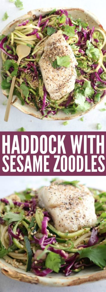 Such a perfect way to have zoodles! The haddock adds a fun and tasty protein to the dish for a really healthy, low carb and gluten free fish dinner! thetoastedpinenut.com #lowcarb #glutenfree #seafood #fish #haddock #dinner #zoodles #paleo