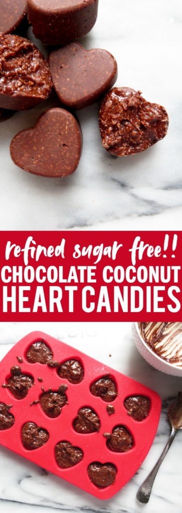 Deliciously sweet and crunchy Chocolate Coconut Heart Candies that make a perfect dessert to end the night or gift for a special someone!! thetoastedpinenut.com #sugarfree #valentinesday #homemade #candies #chocolate