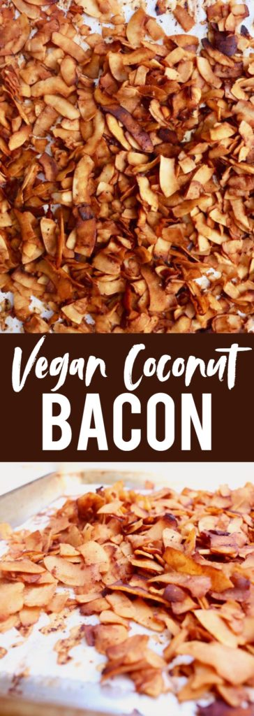 Whether you're vegan or not, this coconut bacon is a MUST TRY!! Such a fun, healthy, plant-based option that's such a tasty sub for traditional bacon! thetoastedpinenut.com #vegan #healthy #bacon #glutenfree #paleo