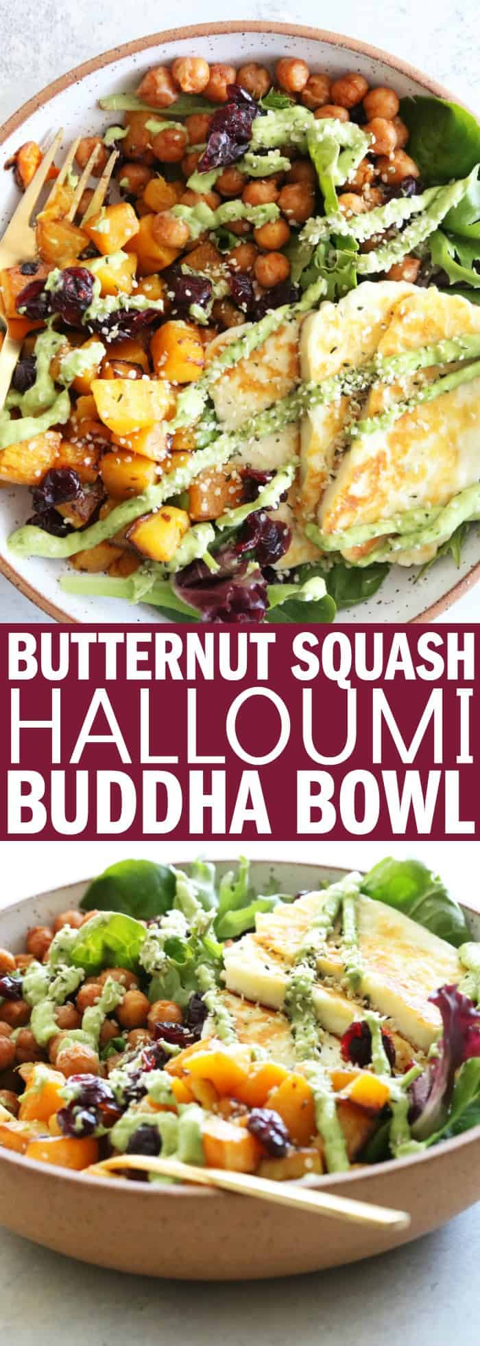This Butternut Squash Halloumi Buddha Bowl is perfect for your #meatlessmonday dinner!! It's full of delicious, hearty vegetables and flavor! thetoastedpinenut.com #buddhabowl #vegetarian #meatlessmonday #glutenfree #salad #thetoastedpinenut