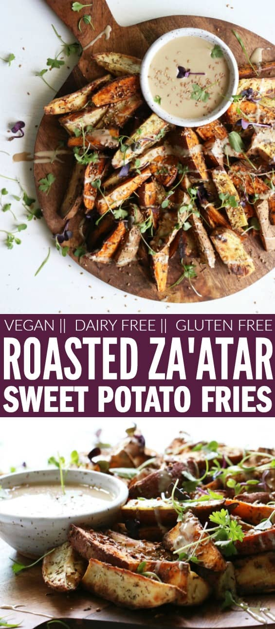 These Roasted Za'atar Sweet Potato Fries + Tahini Dip make the perfect snack or side dish! They're fresh, flavorful, gluten free, vegan, and dairy free! thetoastedpinenut.com #thetoastedpinenut #zaatar #sweetpotato #fries #tahini #glutenfree #dairyfree #vegan #snack