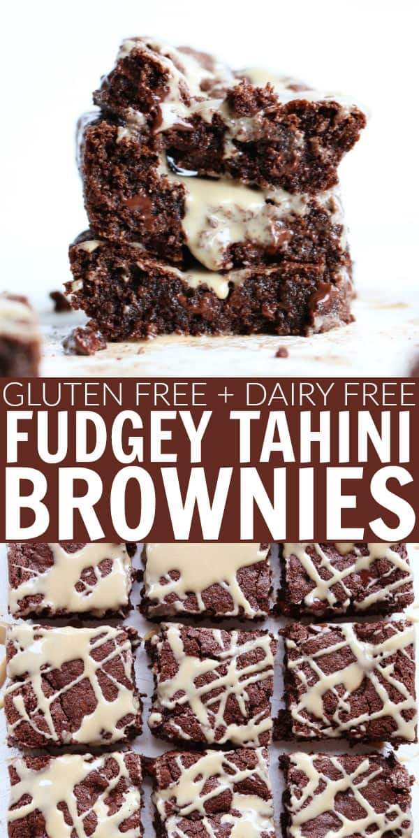 These are the best Tahini Brownies ever!! They're so fudgey, moist, and insanely delicious! You'd never guess that they're gluten free, grain free, oil free, refined sugar free, and dairy free!! thetoastedpinenut.com #thetoastedpinenut #tahini #brownies #sugarfree #dairyfree #glutenfree #grainfree #paleo #dessert