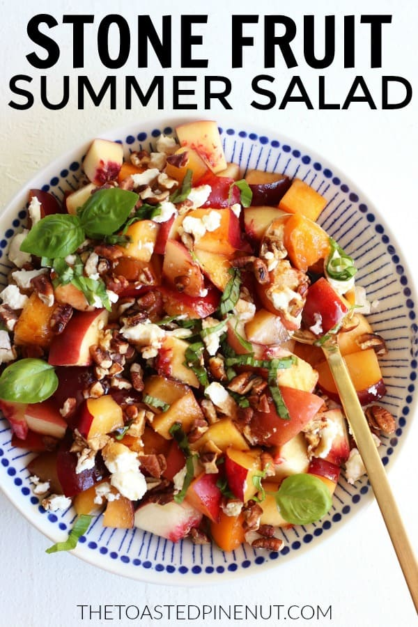This is such a juicy and refreshing Summer Stone Fruit Salad that I know you will love!! It's so quick and easy to throw together and so tasty!! thetoastedpinenut.com #thetoastedpinenut #stonefruit #peach #apricot #plum #fruitsalad #salad #easy #appetizer