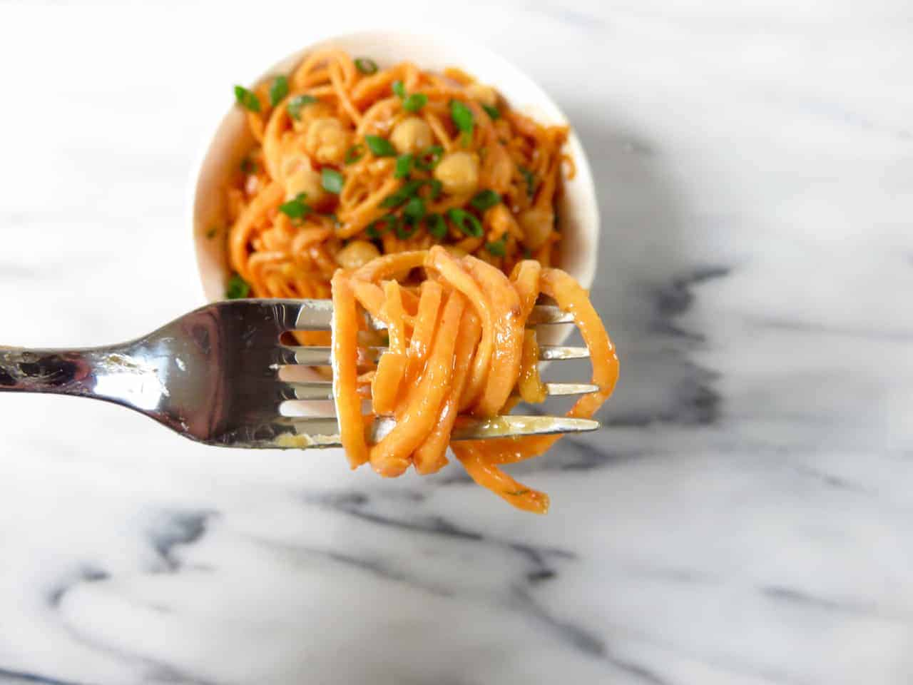 Sweet Potato Noodles with Peanut Sauce