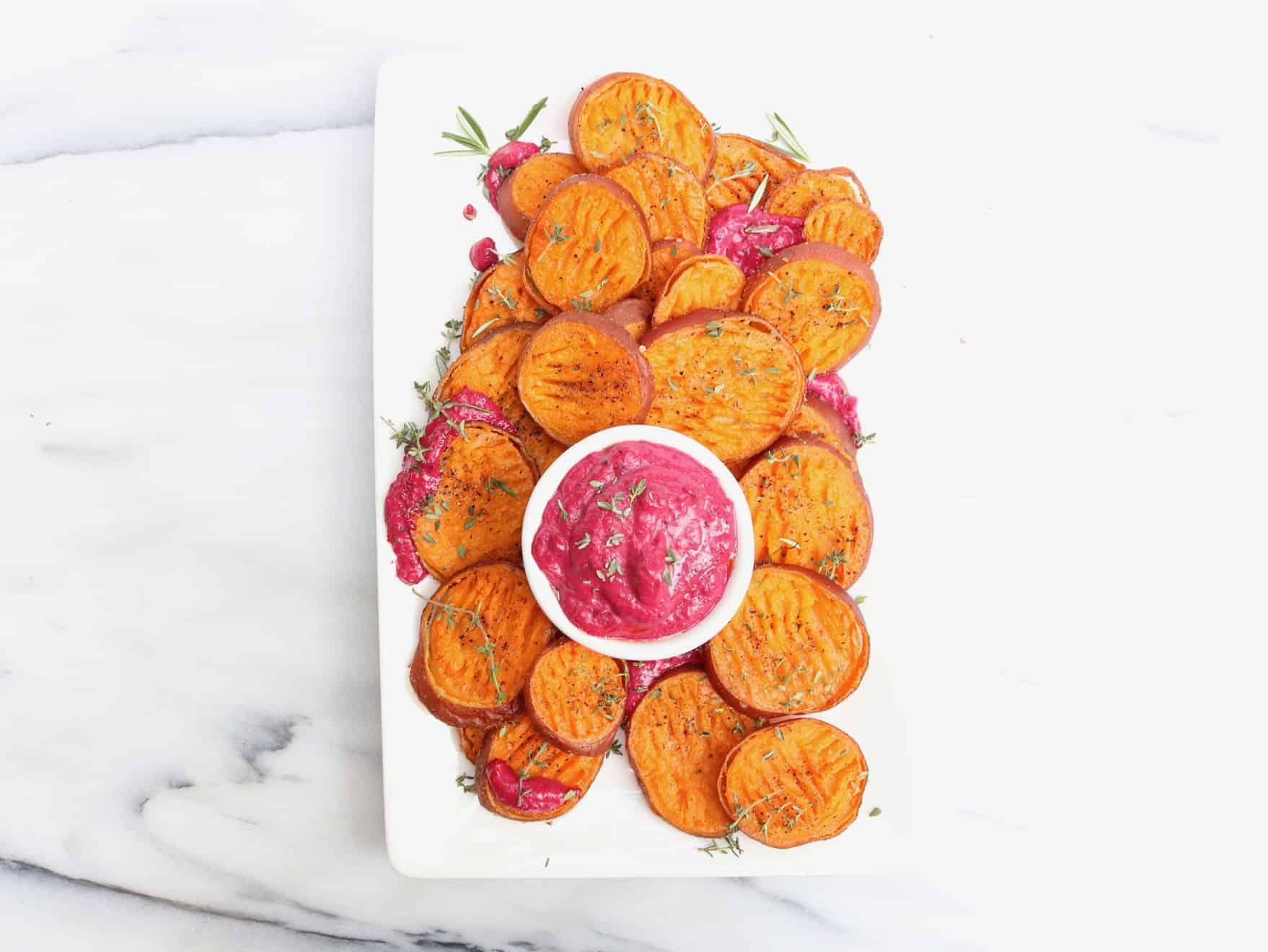 Smashed Sweet Potatoes with Beet Garlic Aioli