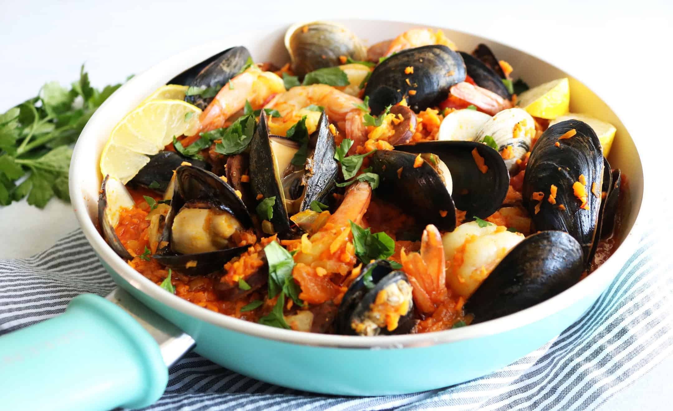 Chorizo + Seafood Paella with Sweet Potato Rice