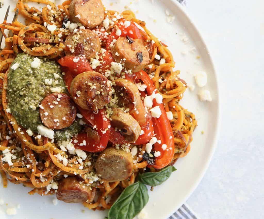 Pesto + Sausage Sweet Potato Noodles