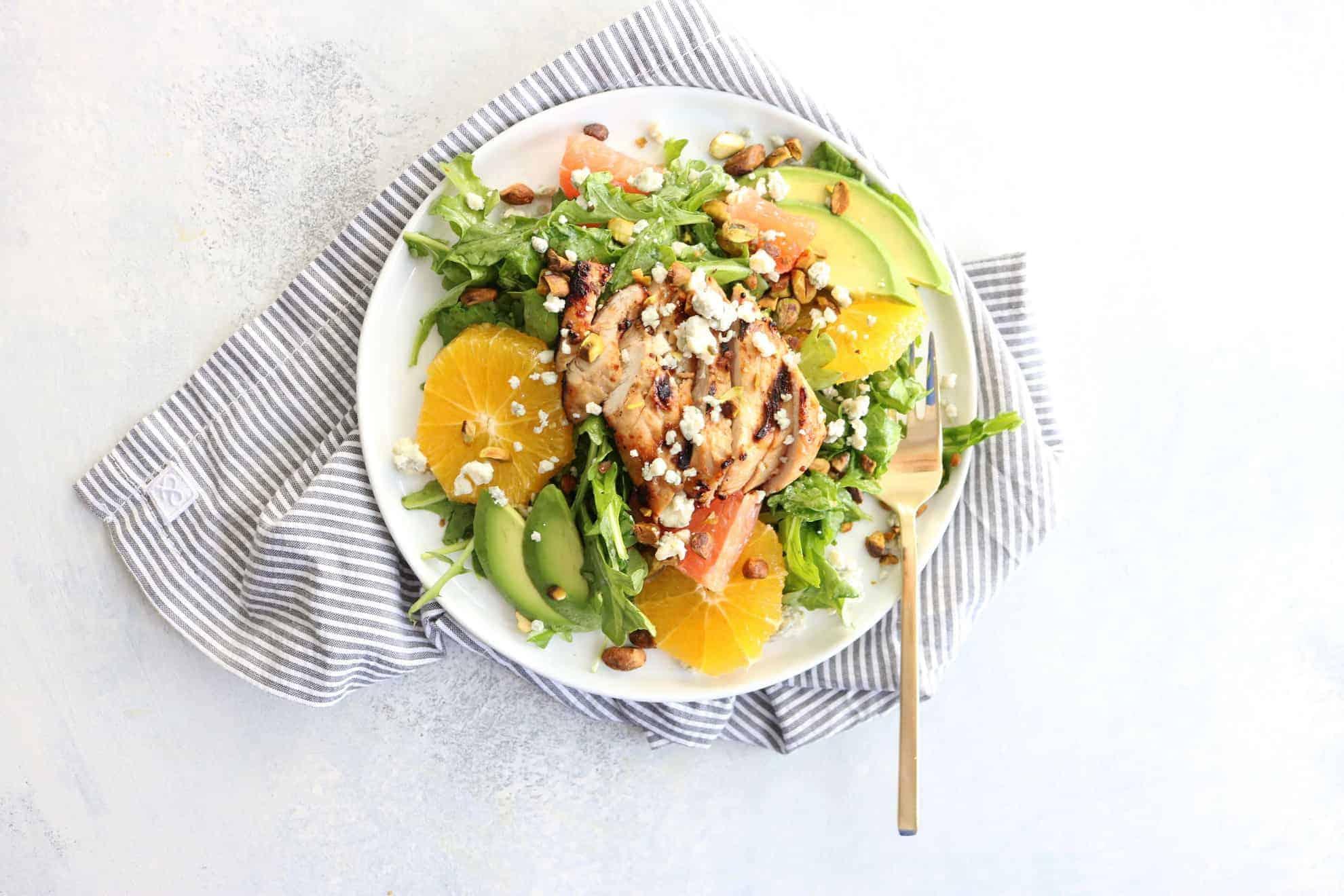 Summer Citrus Salad + Grilled Orange Marinated Chicken