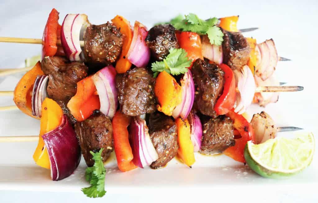 Grilled Pepper + Steak Kabobs