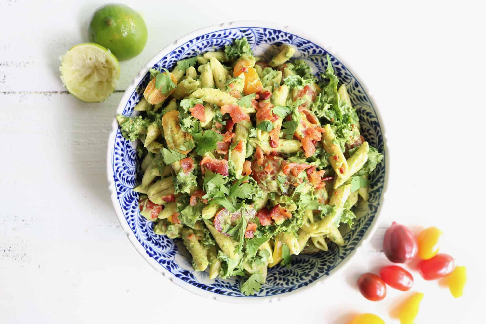 BLT Chickpea Pasta Salad + Creamy Avocado Sauce