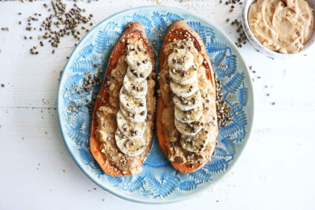 Loaded Almond Butter + Banana Sweet Potato Toast