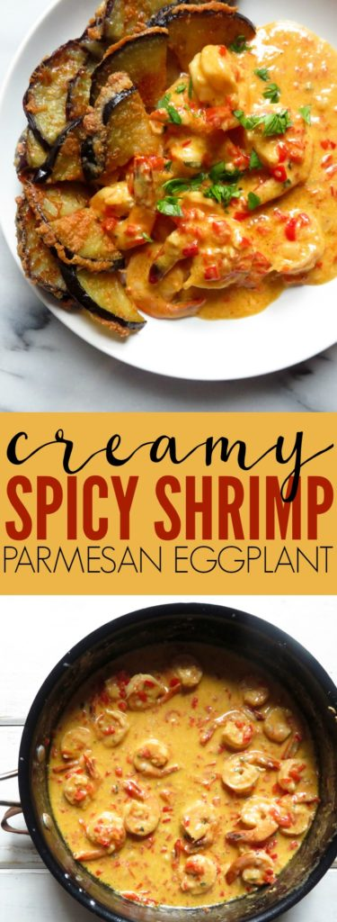 Obsessed with this Creamy Spicy Shrimp + Parmesan Eggplant!! Such a fun and decadent mix of flavors that are unexpectedly delicious! Low carb + gluten free! thetoastedpinenut.com