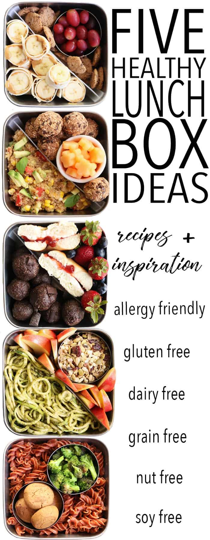 Ditch your boring sandwich and try these FIVE Fun and Healthy Lunch Box Ideas! They're all gluten free, dairy free, and allergy friendly!! thetoastedpinenut.com #glutenfree #dairyfree #allergyfriendly