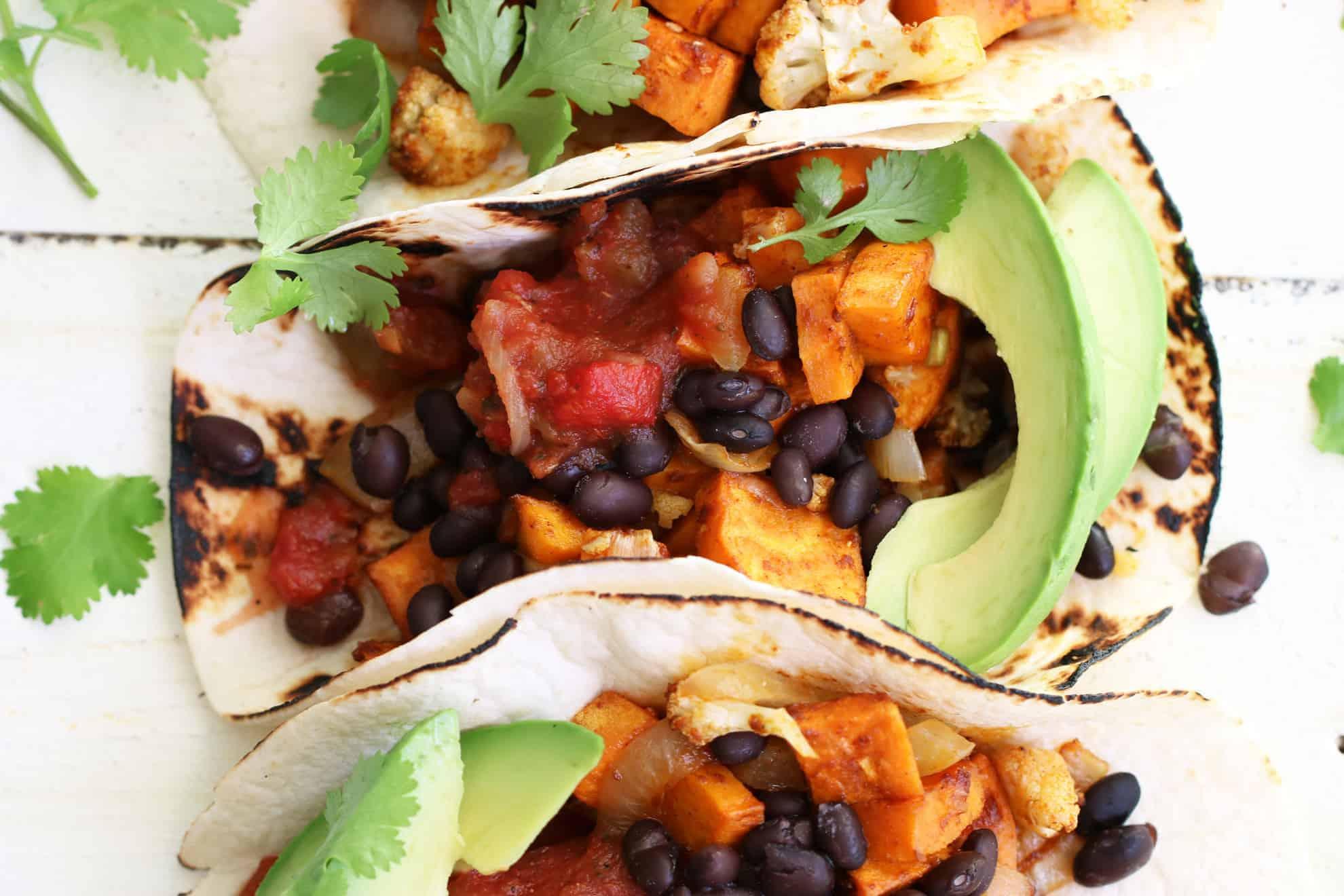 Vegetarian Sweet Potato + Black Bean Tacos