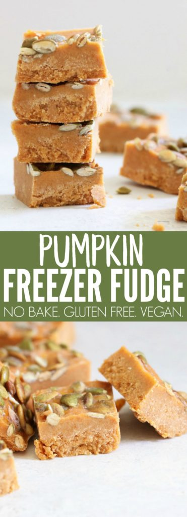 You'll love this easy no bake Pumpkin Freezer Fudge!! It's so simple to whip up + so flavorful! A delicious gluten free, vegan, and paleo-friendly dessert! thetoastedpinenut.com #glutenfree #vegan #nobake #dessert