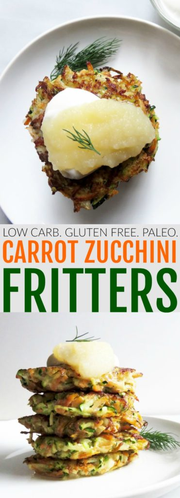 You'll love these low carb + gluten free Carrot Zucchini Fritters! It's a fun twist on your traditional potato pancake latkes! You'll love them!! thetoastedpinenut.com #lowcarb #glutenfree #paleo #fritters