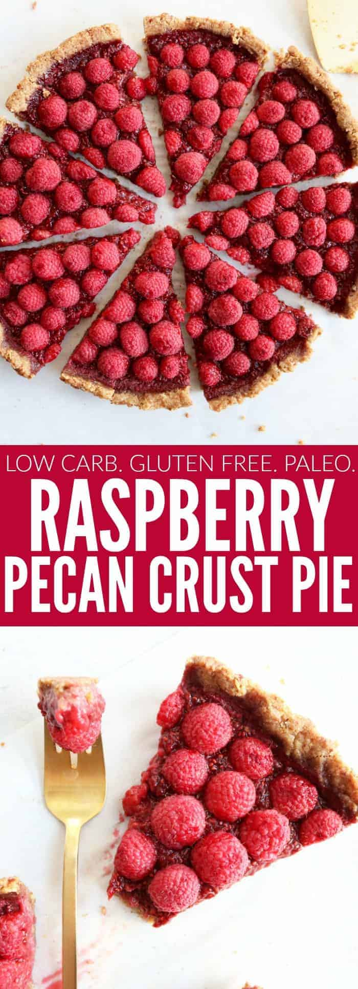 I love this fresh homemade raspberry pie with a pecan crust! It's so delicious, low carb, paleo, and gluten free! Perfect for any holiday celebration!! thetoastedpinenut #lowcarb #glutenfree #paleo #pie #raspberrypie #thanksgiving #dessert