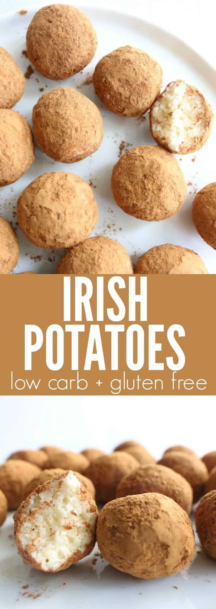 You'll love these low carb + gluten free Skinny Irish Potatoes!! They're such a fun, lightened up version of my favorite childhood St. Patrick's Day treat!! thetoastedpinenut.com #lowcarb #glutenfree #dessert #stpatricksday