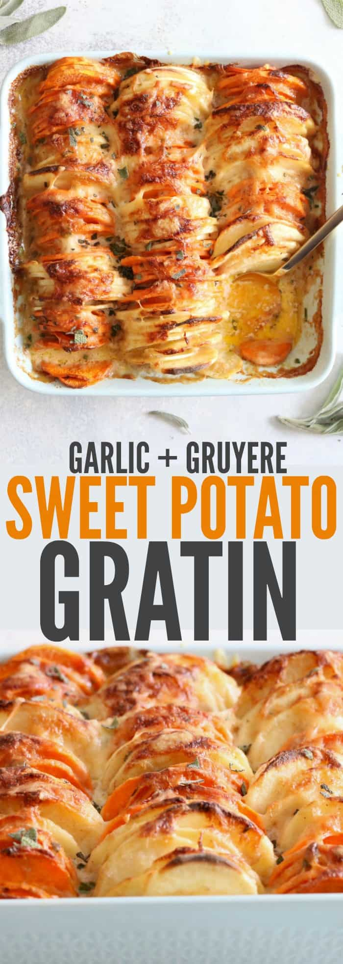Delicious and indulgent Garlic + Gruyere Sweet Potato Gratin will be your new favorite recipe this holiday season! It's such and easy and yummy side dish! thetoastedpinenut.com #glutenfree #thanksgiving #christmas #recipe #sidedish