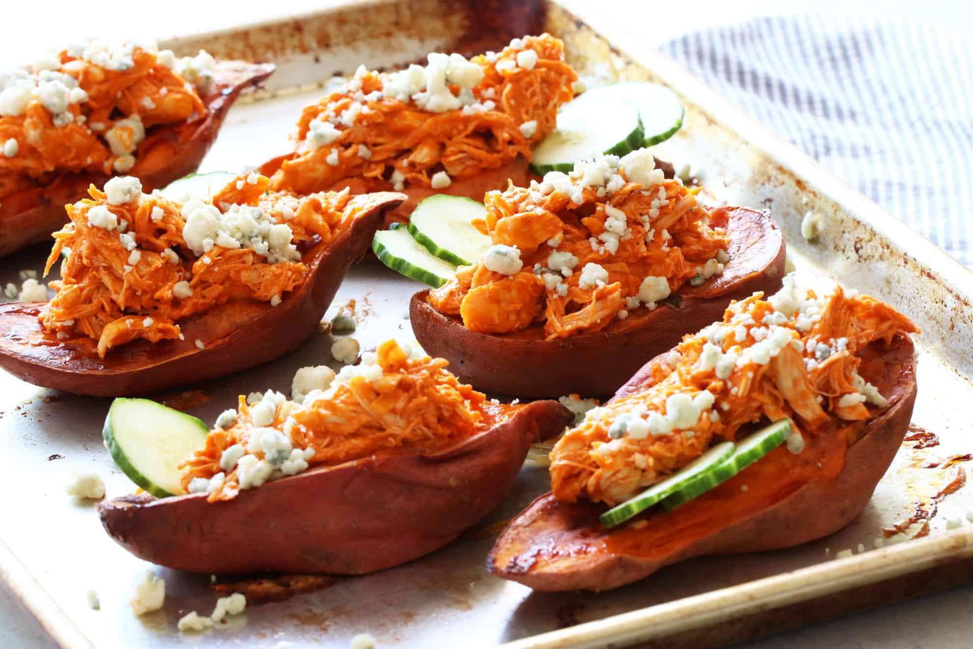 Shredded Buffalo Chicken Sweet Potato Boats