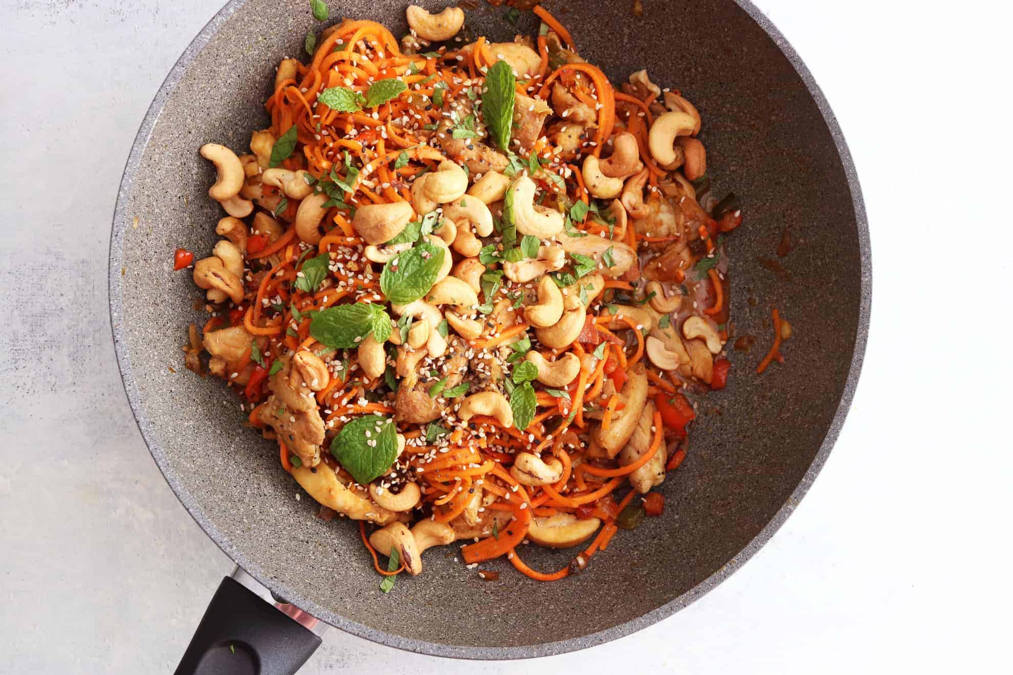 20 minute sweet potato noodle lo mein