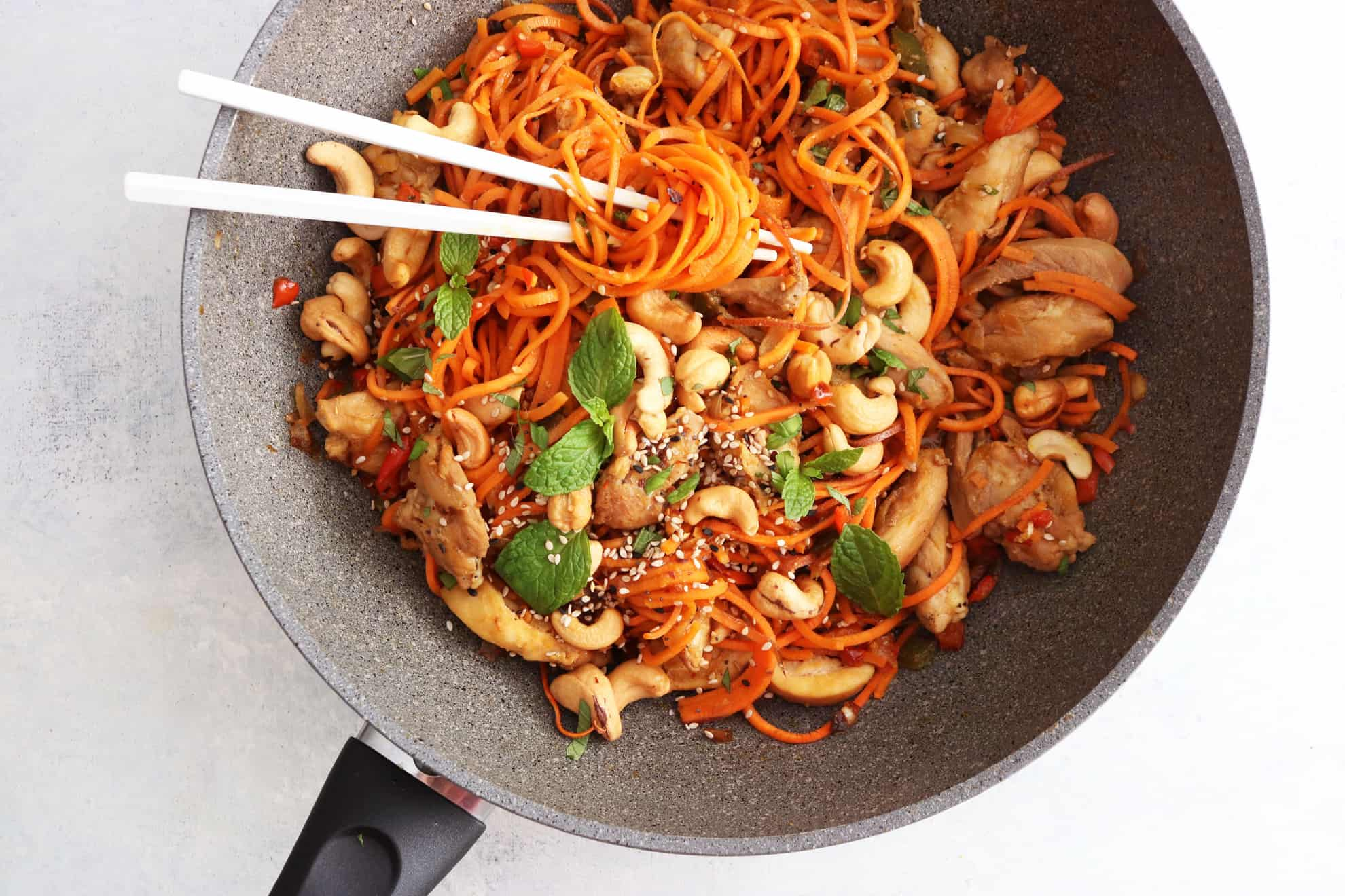 20 minute sweet potato noodle lo mein