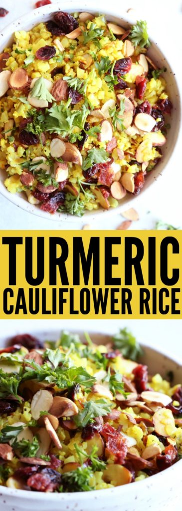 LOVE this easy to make Turmeric Cauliflower Rice!! Add some roasted salmon or grilled chicken on top and you have a colorful, flavorful, and delicious gluten free meal! theotastedpinenut.com #turmeric #cauliflower #rice #sidedish #glutenfree #vegetarian