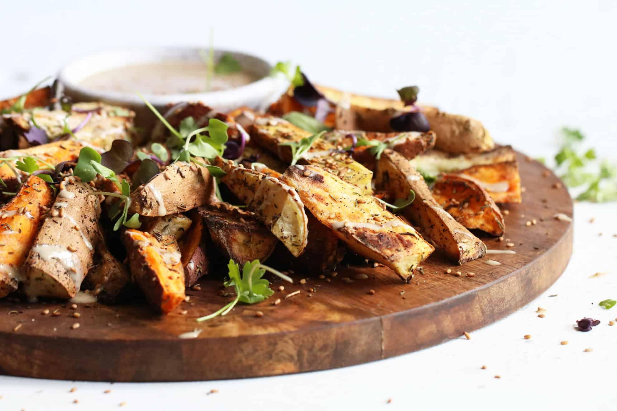roasted za'atar sweet potato fries + tahini