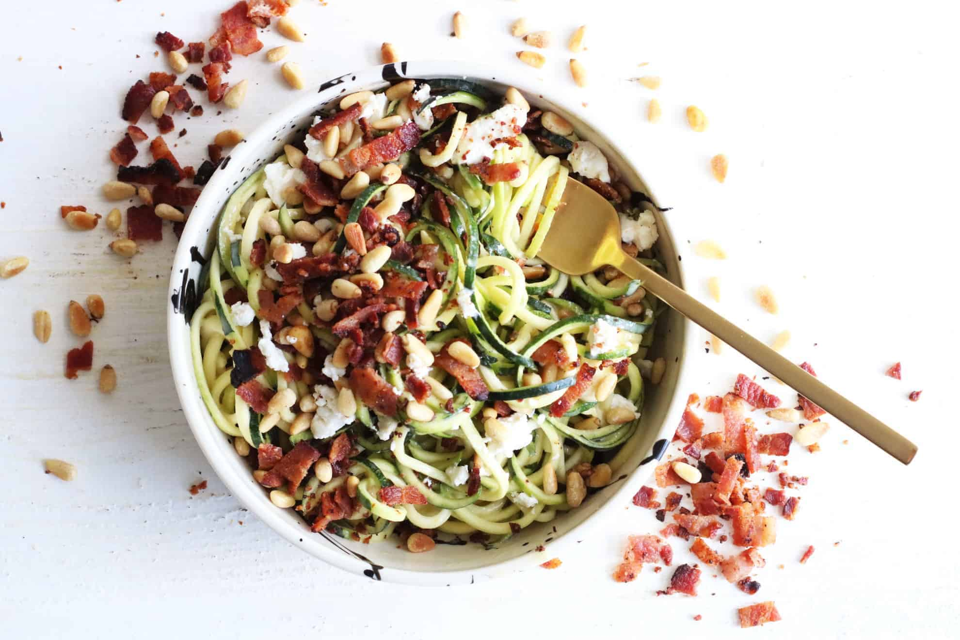 Mustard Bacon Goat Cheese Zoodles