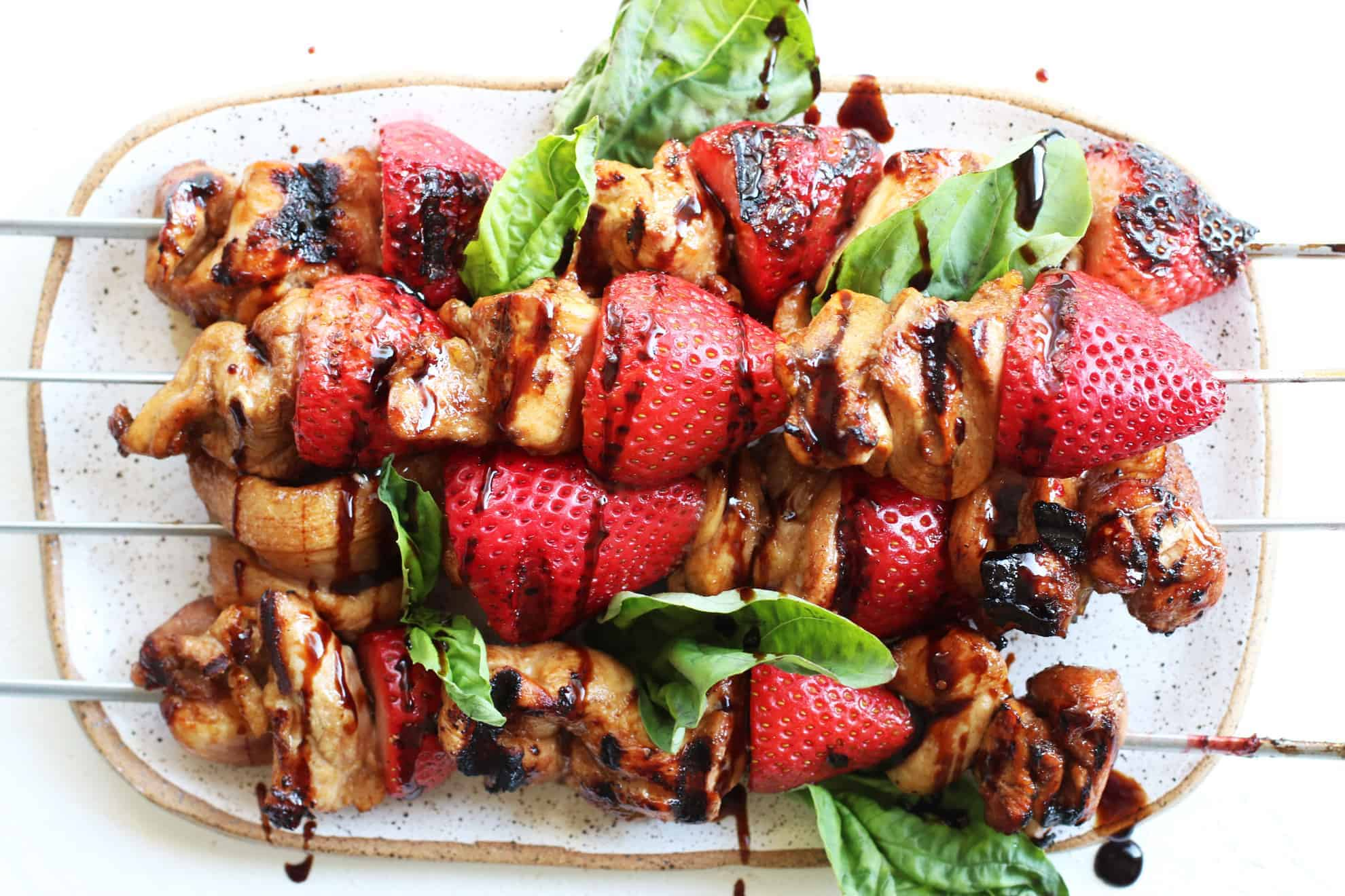 Grilled Strawberry Balsamic Chicken Kabobs