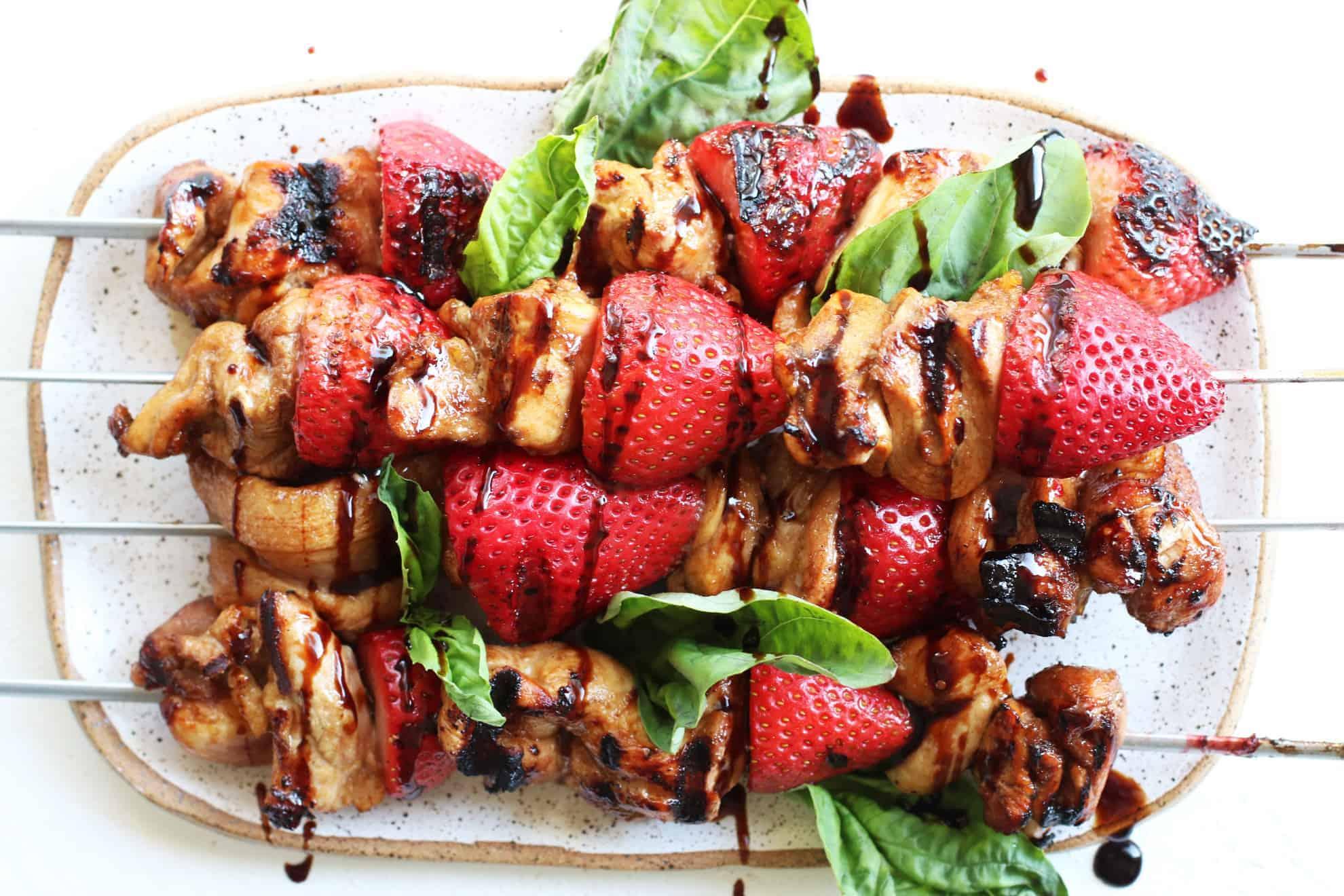 Grilled Strawberry Balsamic Chicken Kabobs