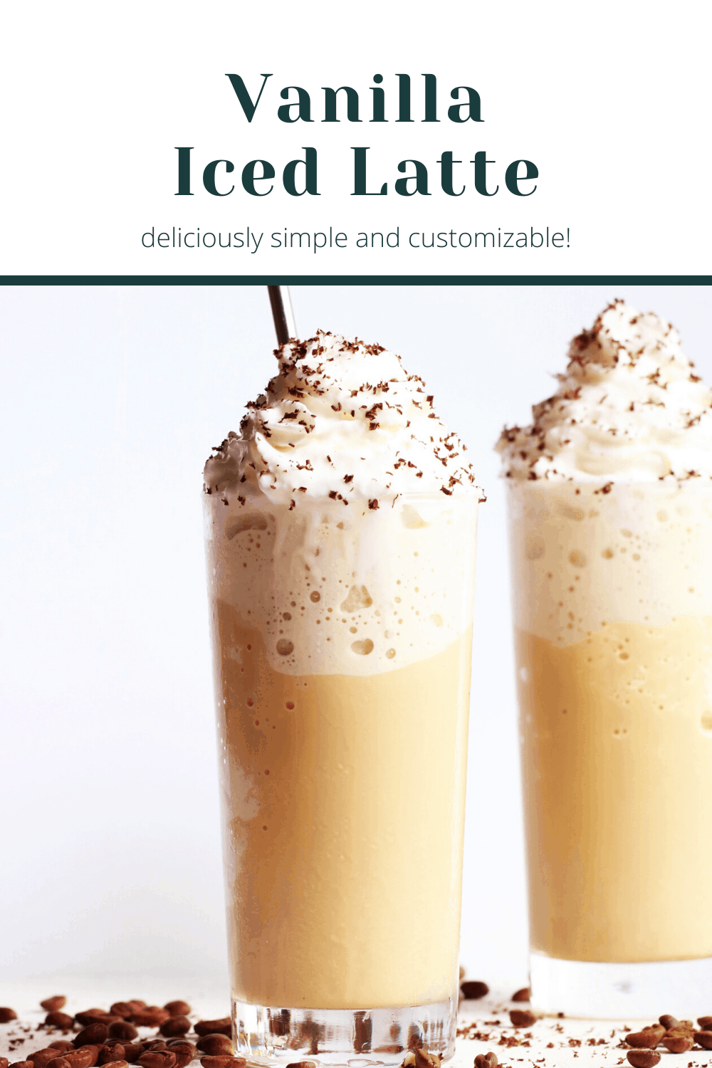 glasses filled with vanilla iced latte, whipped cream and grated chocolate pinterest image