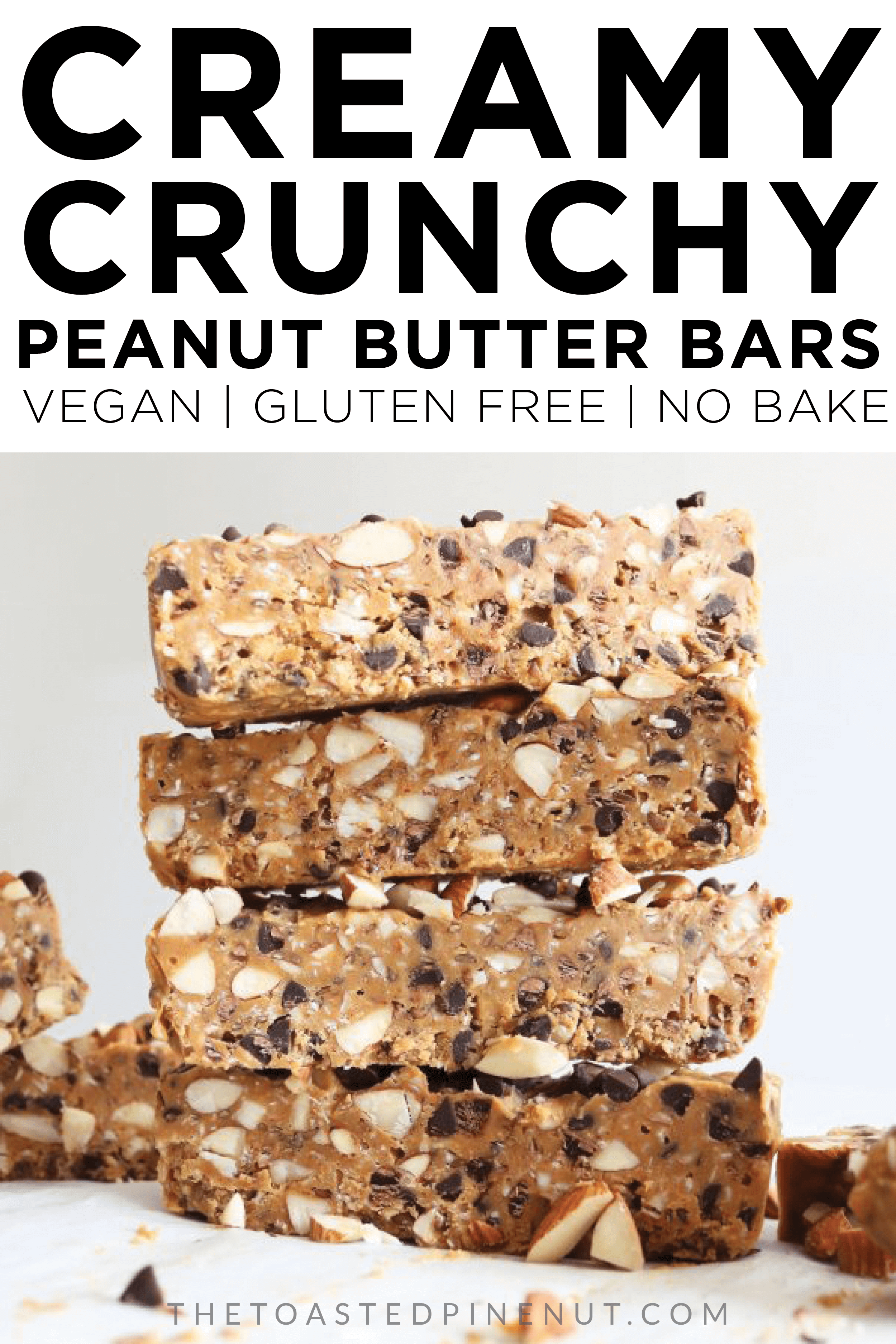 The best no bake bars ever!! These creamy crunchy peanut butter bars are perfect for breakfast, dessert, and snacking in between! thetoastedpinenut.com #thetoastedpinenut #peanutbutter #granolabars #vegan #glutenfree #dairyfree #snack
