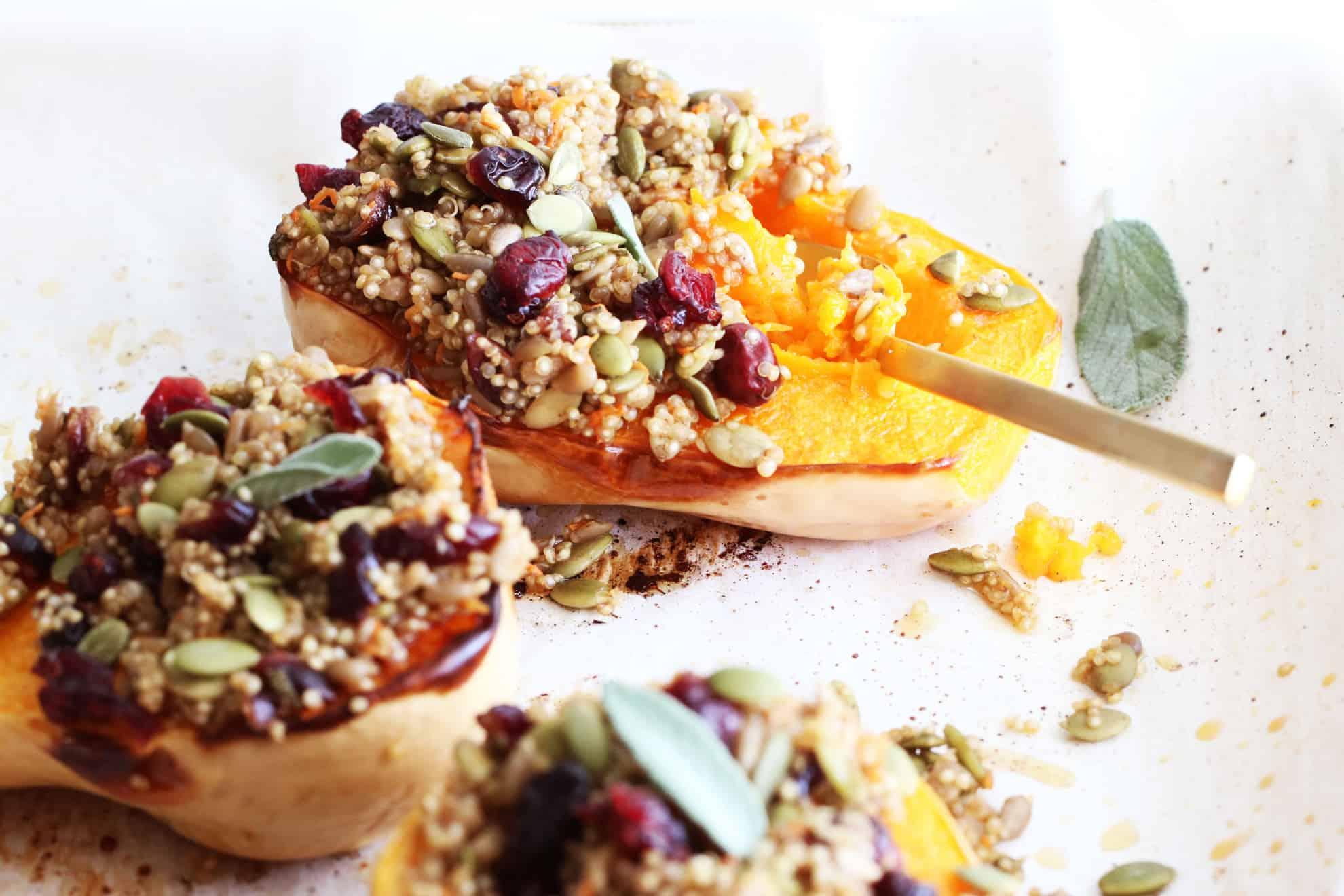 Cranberry Quinoa Butternut Squash Boats (gluten free + vegan)