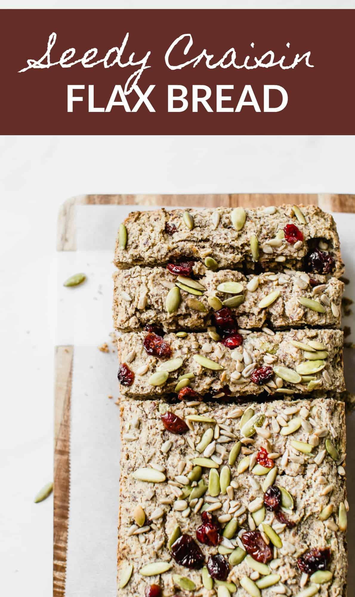 You'll love this low carb, gluten free, and paleo Seedy Craisin Flax Bread!! It's packed with goodies, so savory, and delicious with your morning coffee! thetoastedpinenut.com #thetoastedpinenut #glutenfree #lowcarb #pumpkinseeds #pumpkin #cranberry #flax #flaxmeal #bread #healthybread