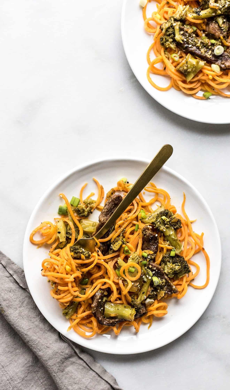 Instant Pot Beef Broccoli + Sweet Potato Noodles