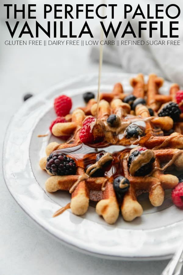 This is the most perfect paleo vanilla waffle for your weekend brunch! It's gluten free, dairy free, low carb, and so easy to whip together! thetoastedpinenut.com #thetoastedpinenut #paleo #paleowaffles #lowcarbwaffles #glutenfreewaffles #easywafflesrecipe #eastwafflerecipe #dairyfreewaffles #sugarfreewaffles #vanillawaffles #wafflerecipe