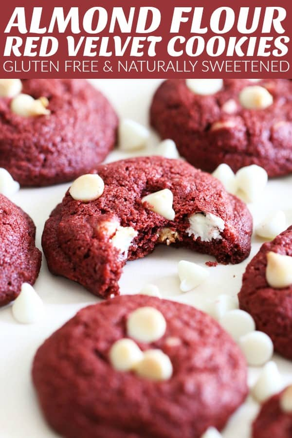 You are going to love these Almond Flour Red Velvet White Chocolate Chip Cookies!! They're rich, luscious, and crisp around the edges with a chewy center! thetoastedpinenut.com #thetoastedpinenut #redvelvet #redvelvetcookies #almondflourcookies #glutenfreeredvelvet #glutenfreecookies #redvelvetwhitechocolatechips #redvelvetdessert