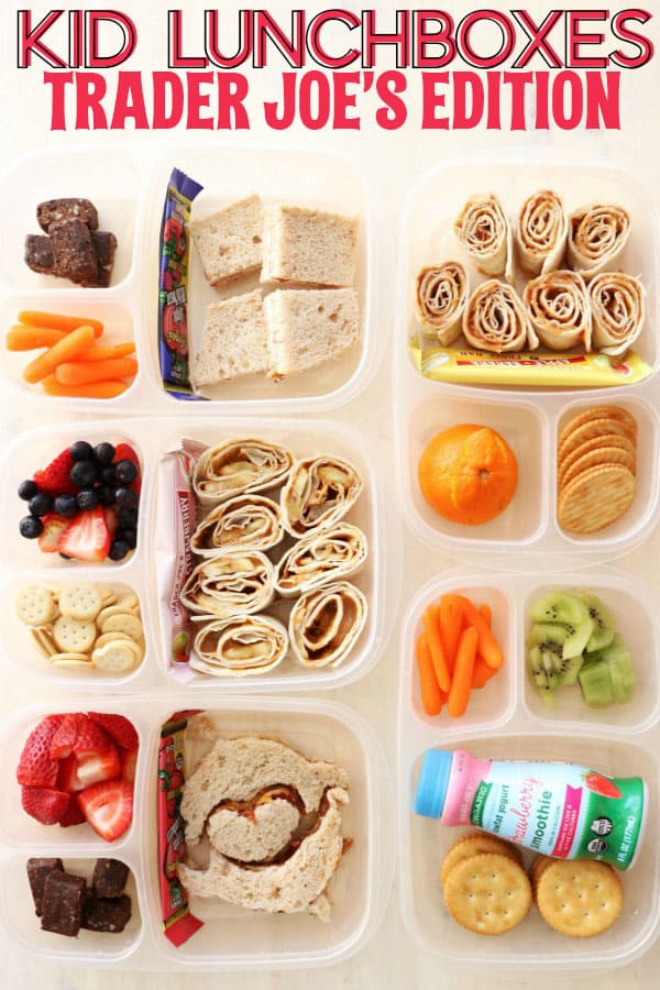 Today I'm sharing five easy Kid Lunchbox Ideas from Trader Joe's! All the items and ingredients in these boxes are from Trader Joe's and my kids love them! thetoastedpinenut.com #thetoastedpinenut #kidlunches #kidlunchboxes #traderjoes #healthylunch #healthykidlunches #healthykidlunchboxes #healthylunchboxideas #lunchboxideas #schoollunch