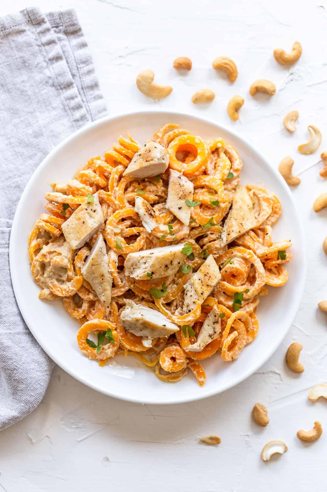 Creamy Cashew Chicken Alfredo + Butternut Squash Noodles