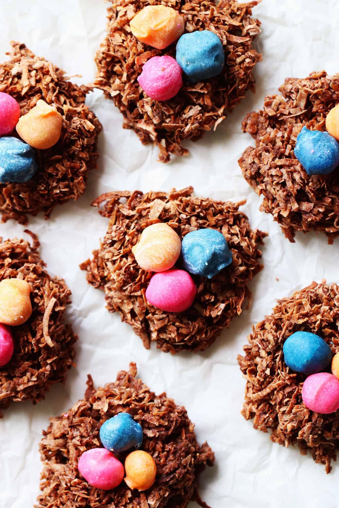 No Bake Chocolate Coconut Nests