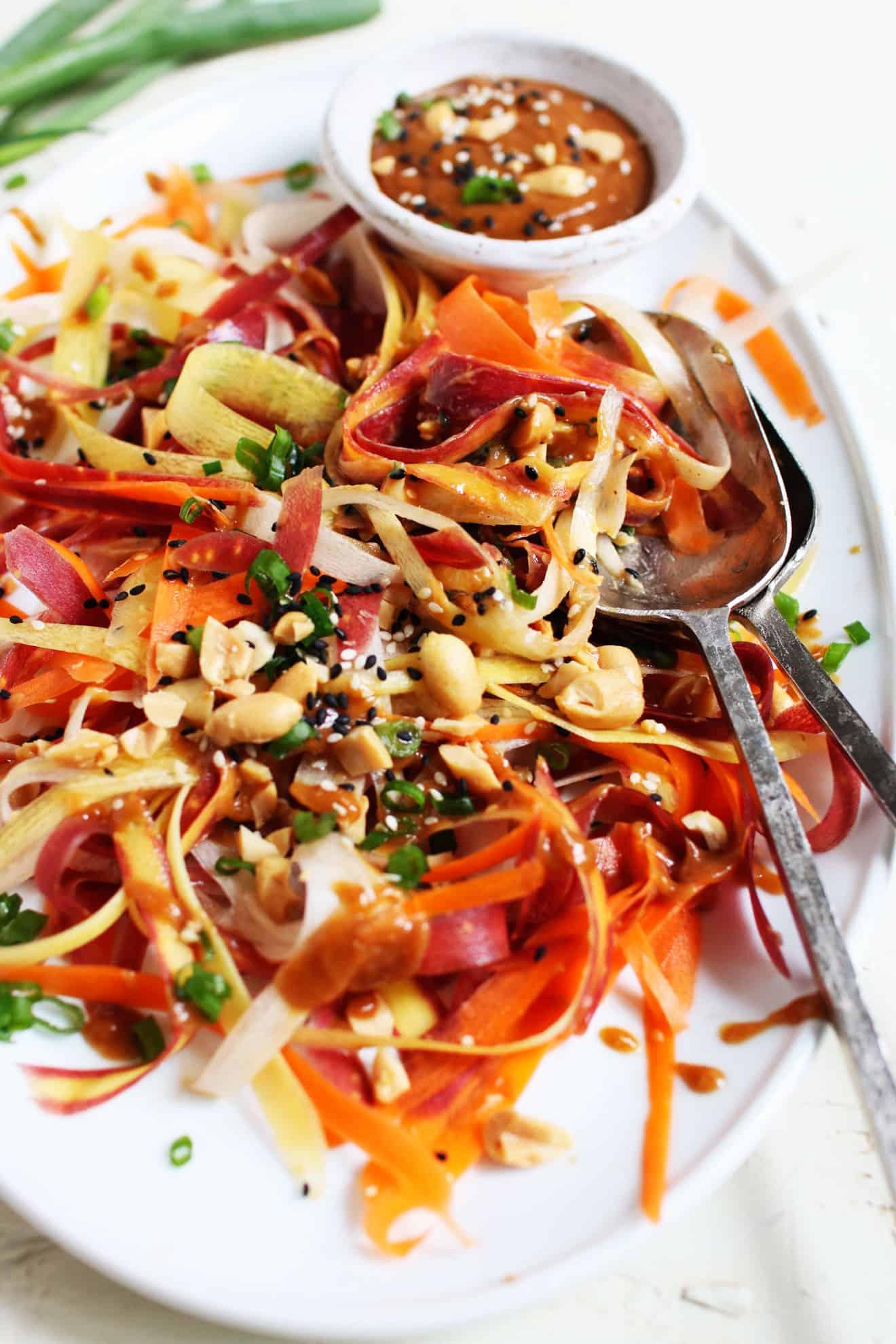Ribbon Carrot Salad + Peanut Sauce