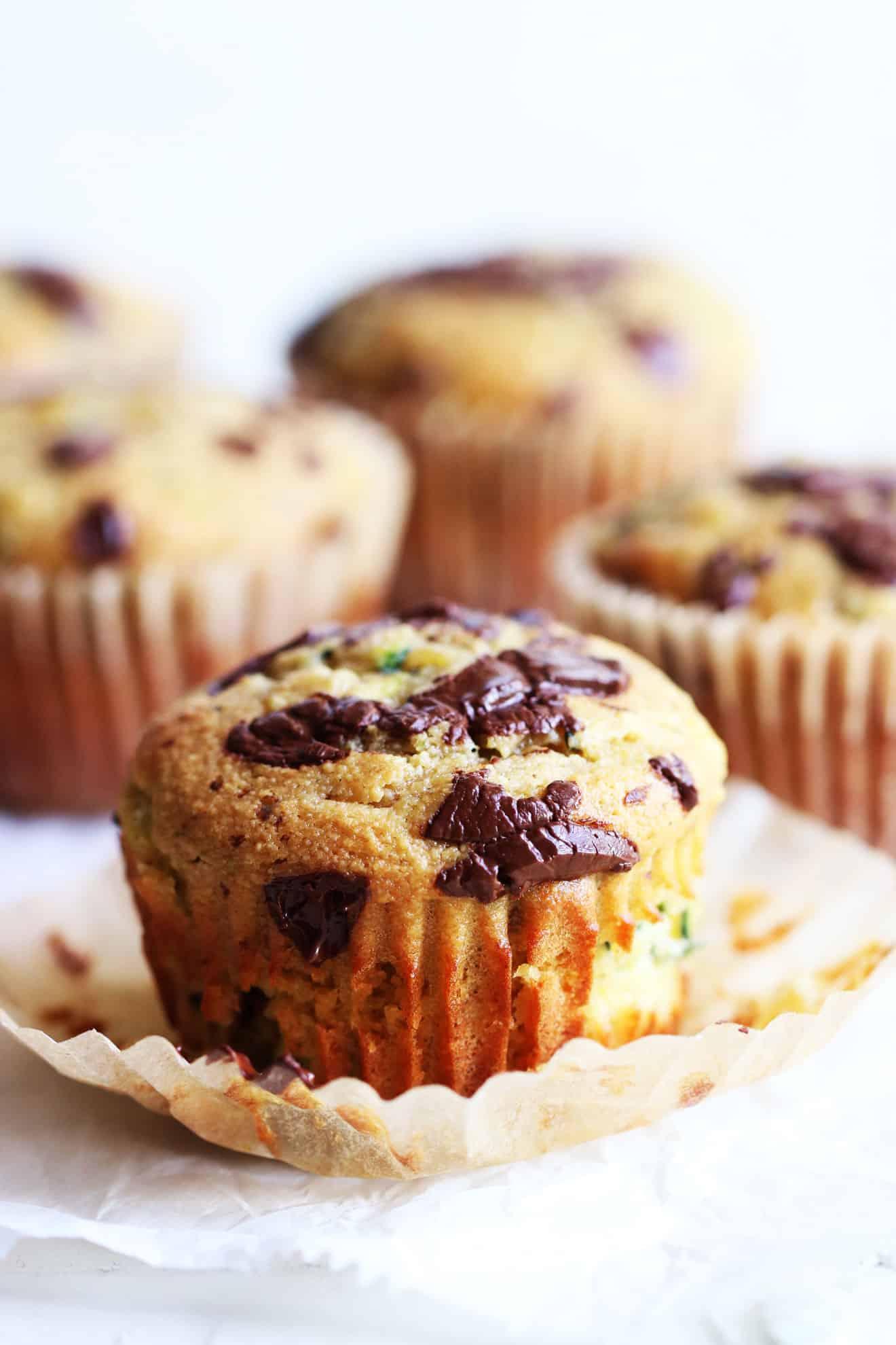 Almond Flour Chocolate Chip Zucchini Muffins