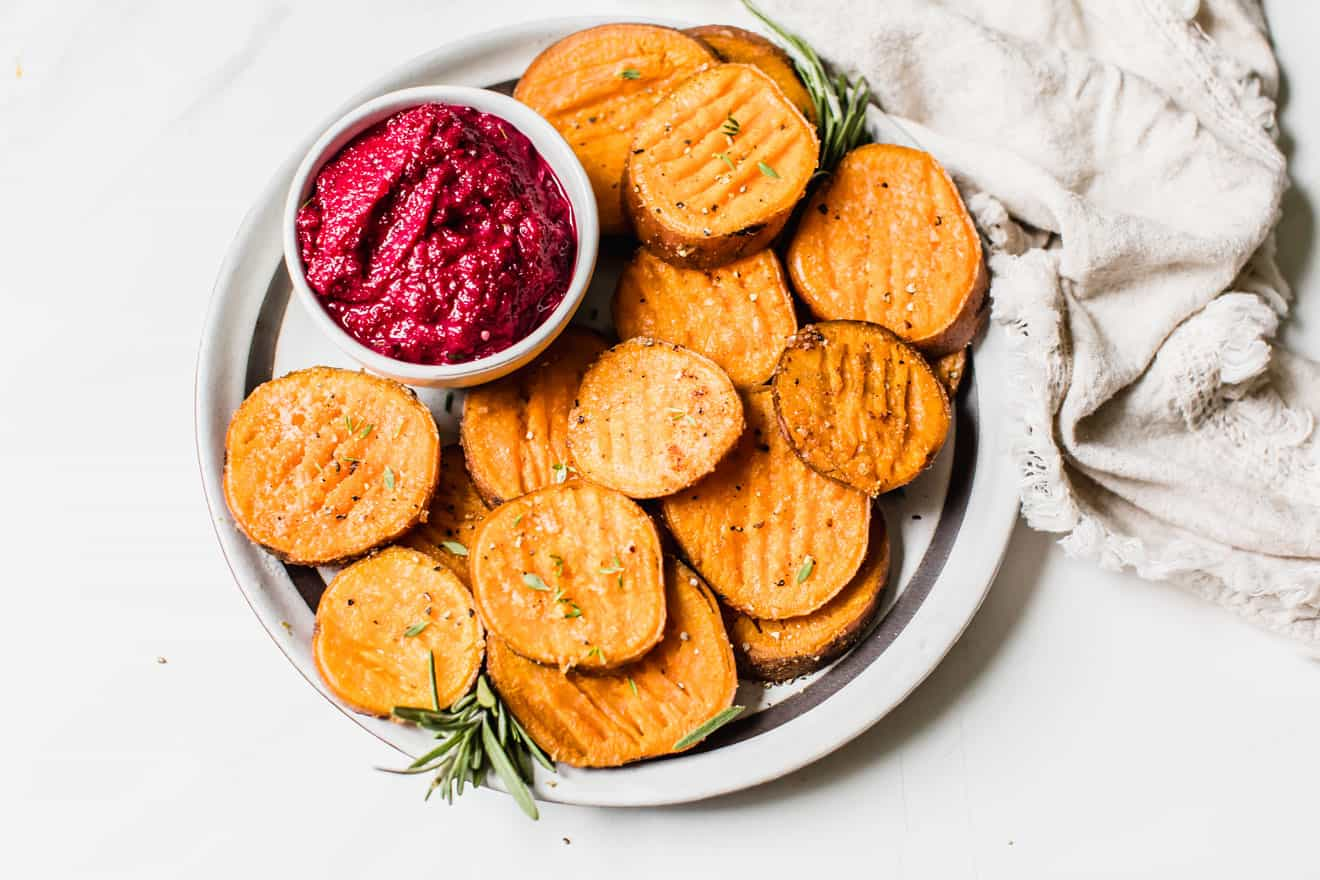 Smashed Sweet Potatoes + Beet Garlic Aioli